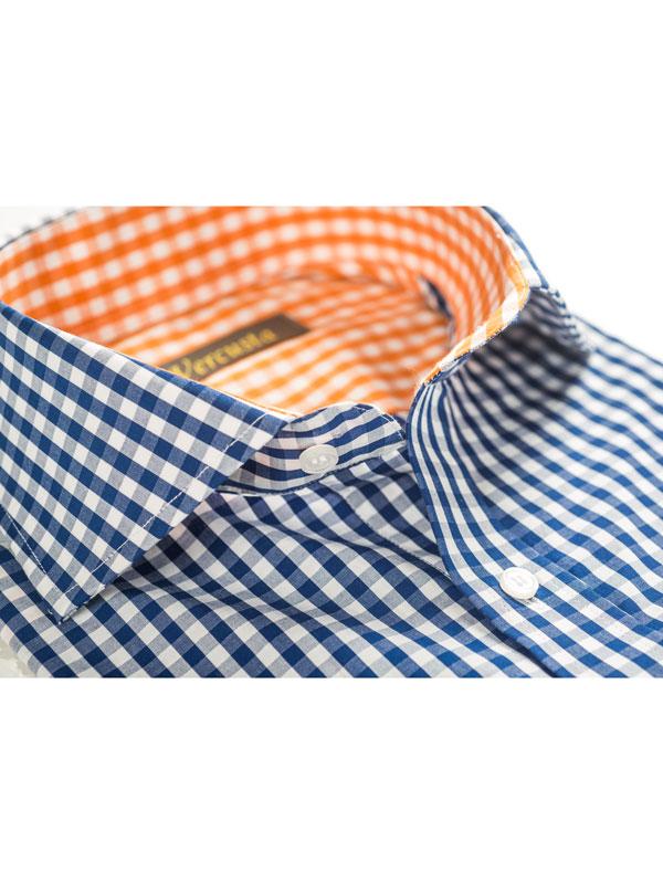 Vercusta Orange Blue Check Collar