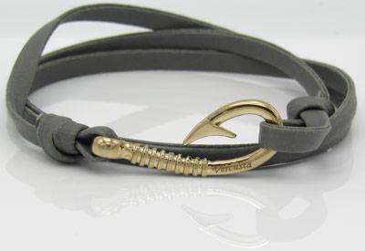 Grey Leather Rose Gold Hook