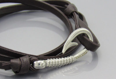Chocolate Leather with Silver Hook Zoom