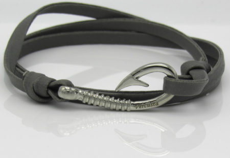 Grey Leather Silver Hook