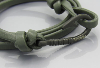 Olive Green Leather with Matte Black Hook Zoom