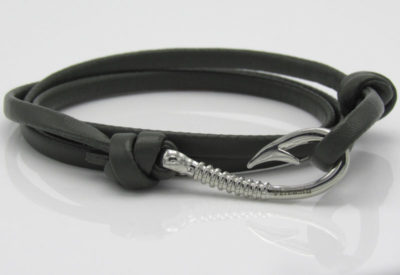 Olive Green Leather with Silver Hook