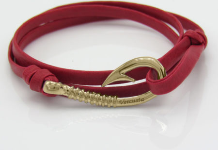 Red Leather Rose Gold Hook