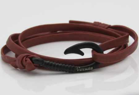 Red Leather with Matte Black Hook