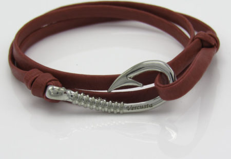 Red Leather with Silver Hook