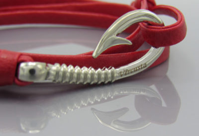 Red Leather with Silver Hook Zoom